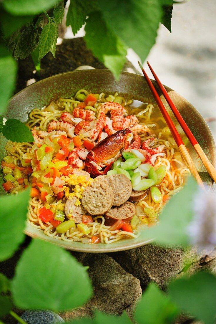 Japanese ramen soup with langoustine