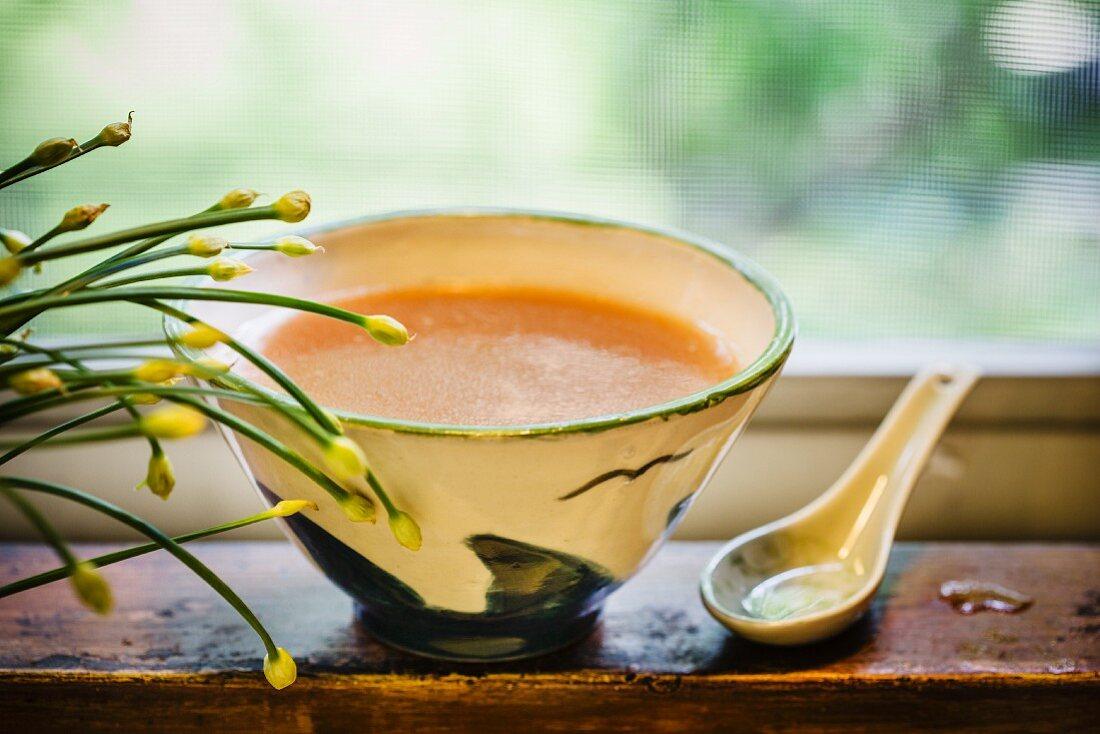 Broth for Japanese tonkotsu ramen soup