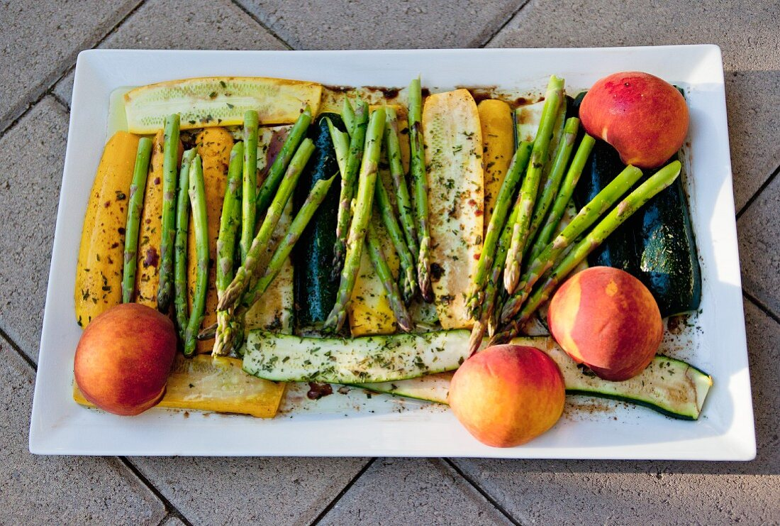 Marinated vegetables and fruit for grilling