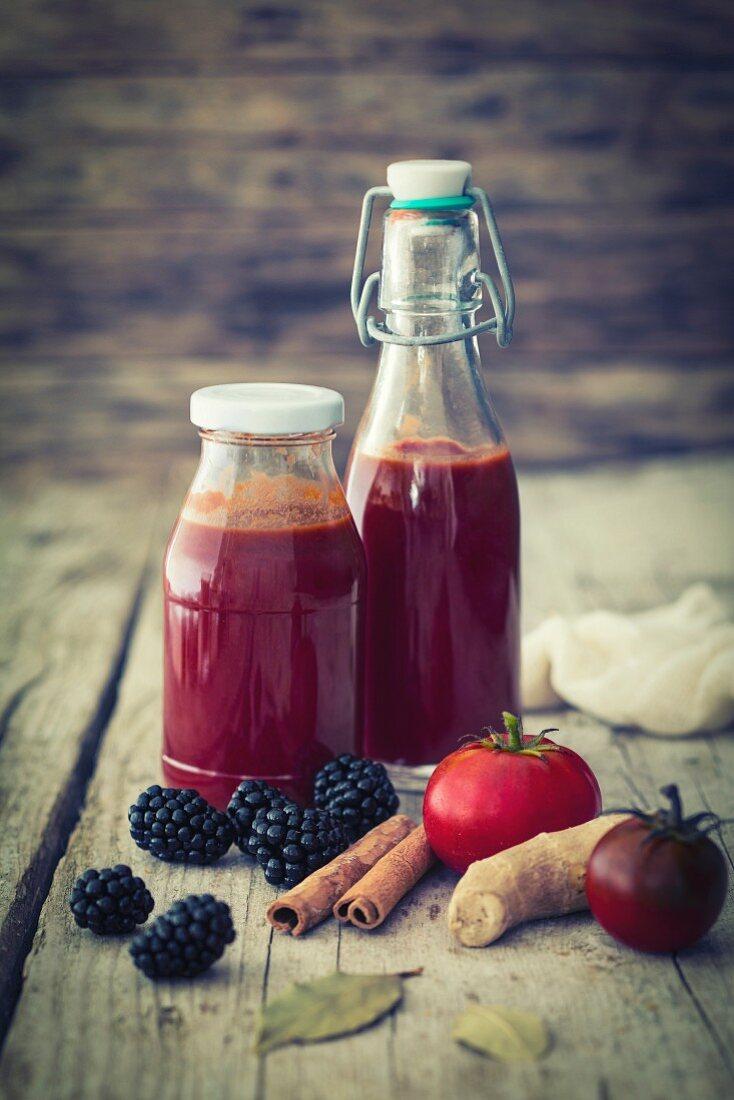 Homemade blackberry ketchup