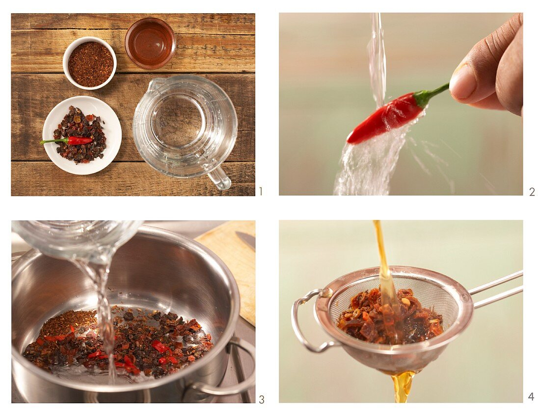 How to prepare rosehip and chilli tea with rooibos