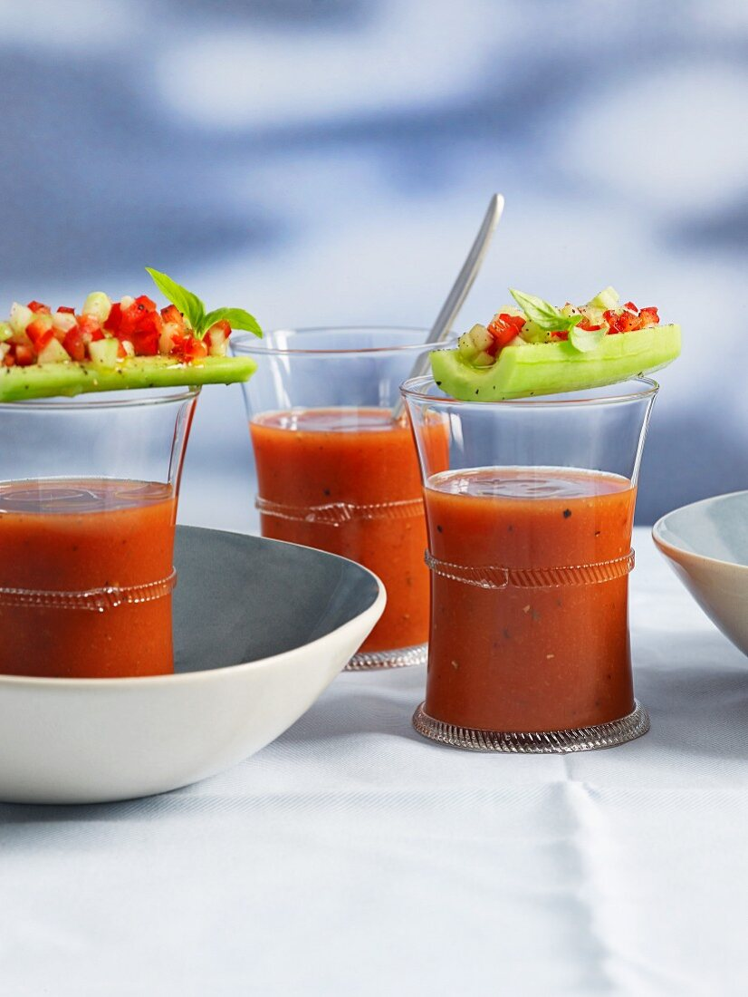 Gazpacho with filled cucumber boats