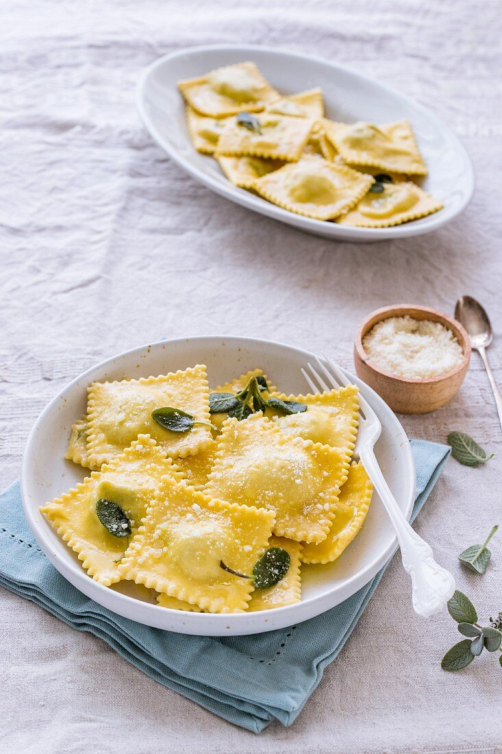 Ravioli with ricotta, sage and grated Parmesan