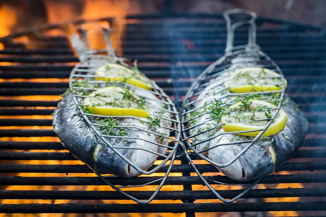 Fresh fish with herbs and lemon on a grill rack