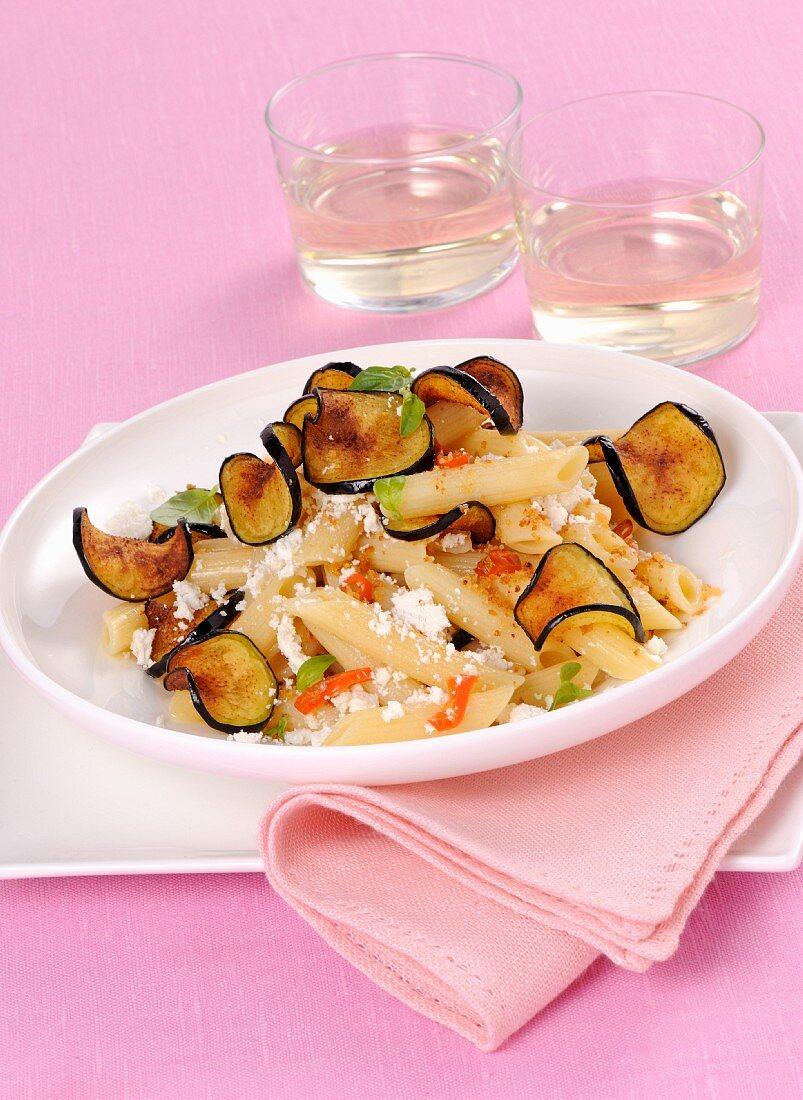 Pasta alla norma bianca with aubergine and ricotta