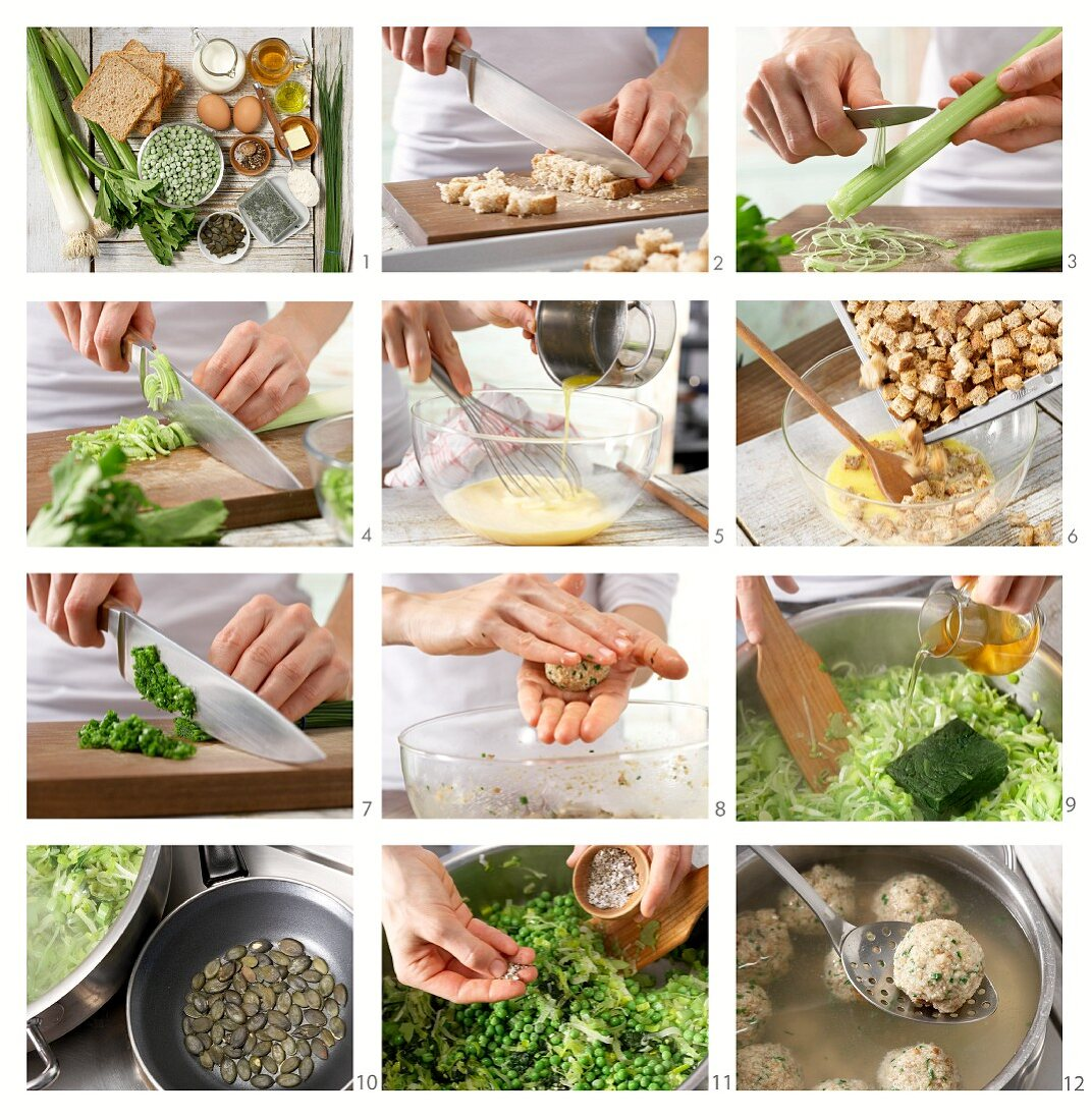 How to prepare bread dumplings on a bed of vegetables with chives and pumpkin seeds