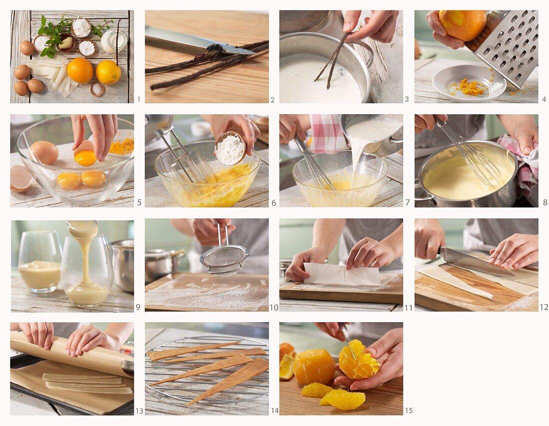 Orange and vanilla cream being made