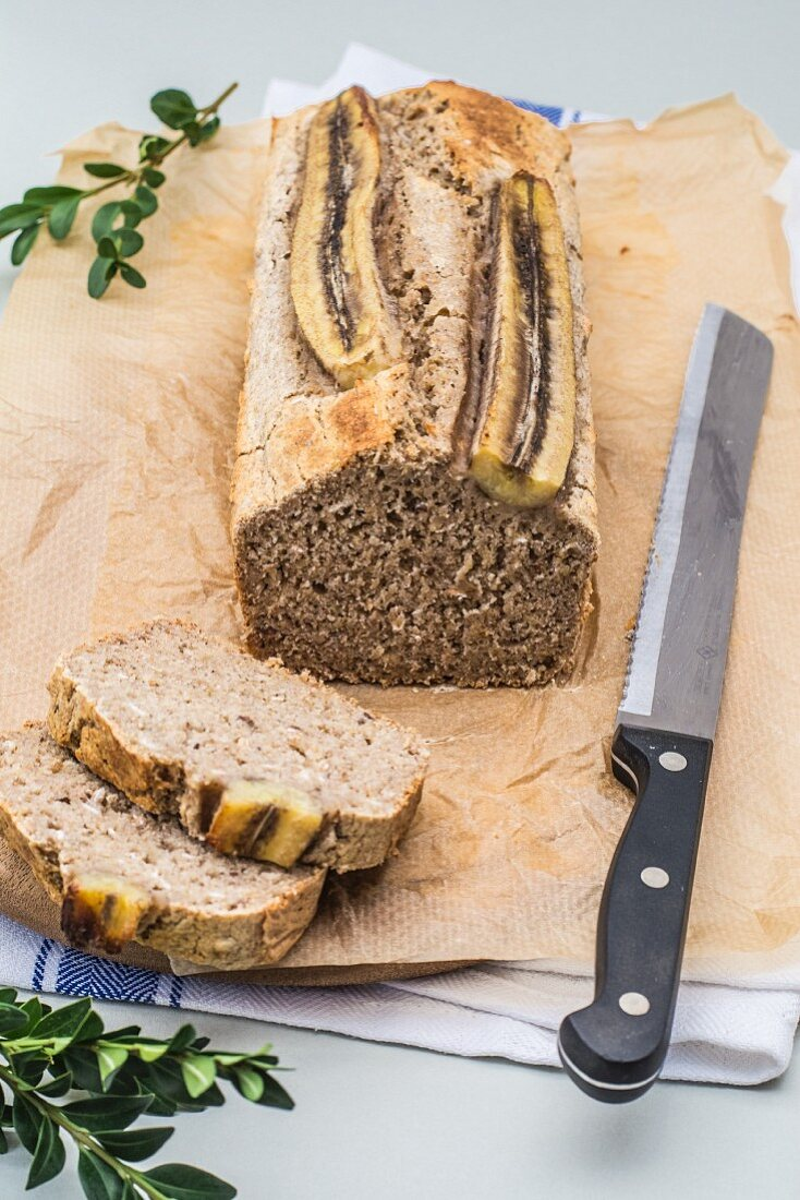 Sliced gluten-free banana bread with chia seeds