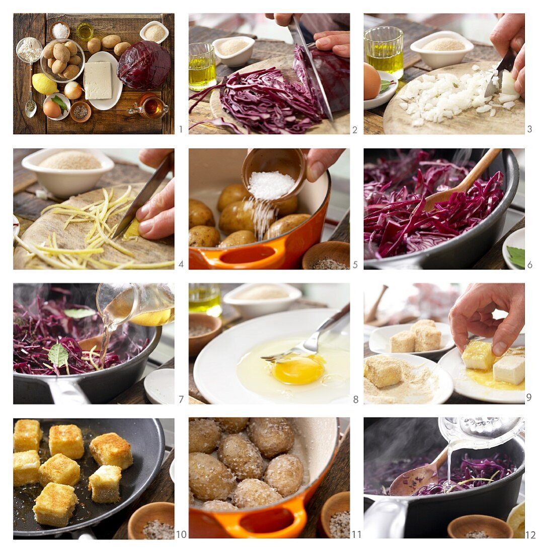 How to make breaded sheep's cheese with lemon and red cabbage