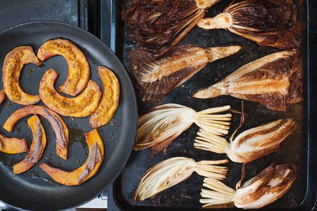 Oven-baked pumpkin with bottarga and chicory with Trevisana