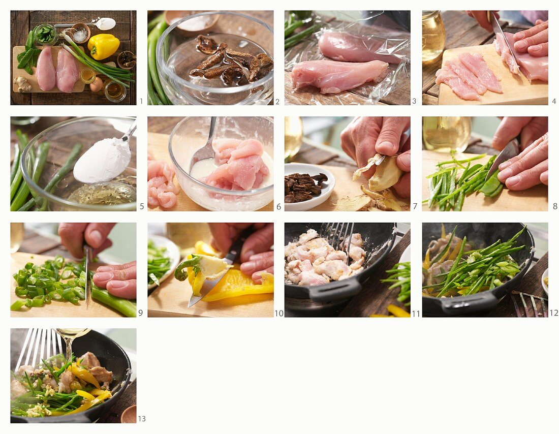 Asian-style chicken fillet with shiitake mushrooms, green beans and yellow pepper being made