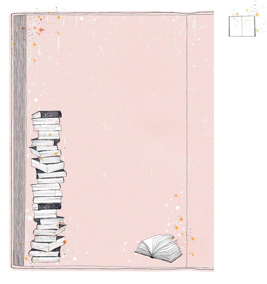 Illustration: Bücherstapel und aufgeschlagenes Buch vor rosa Hintergrund