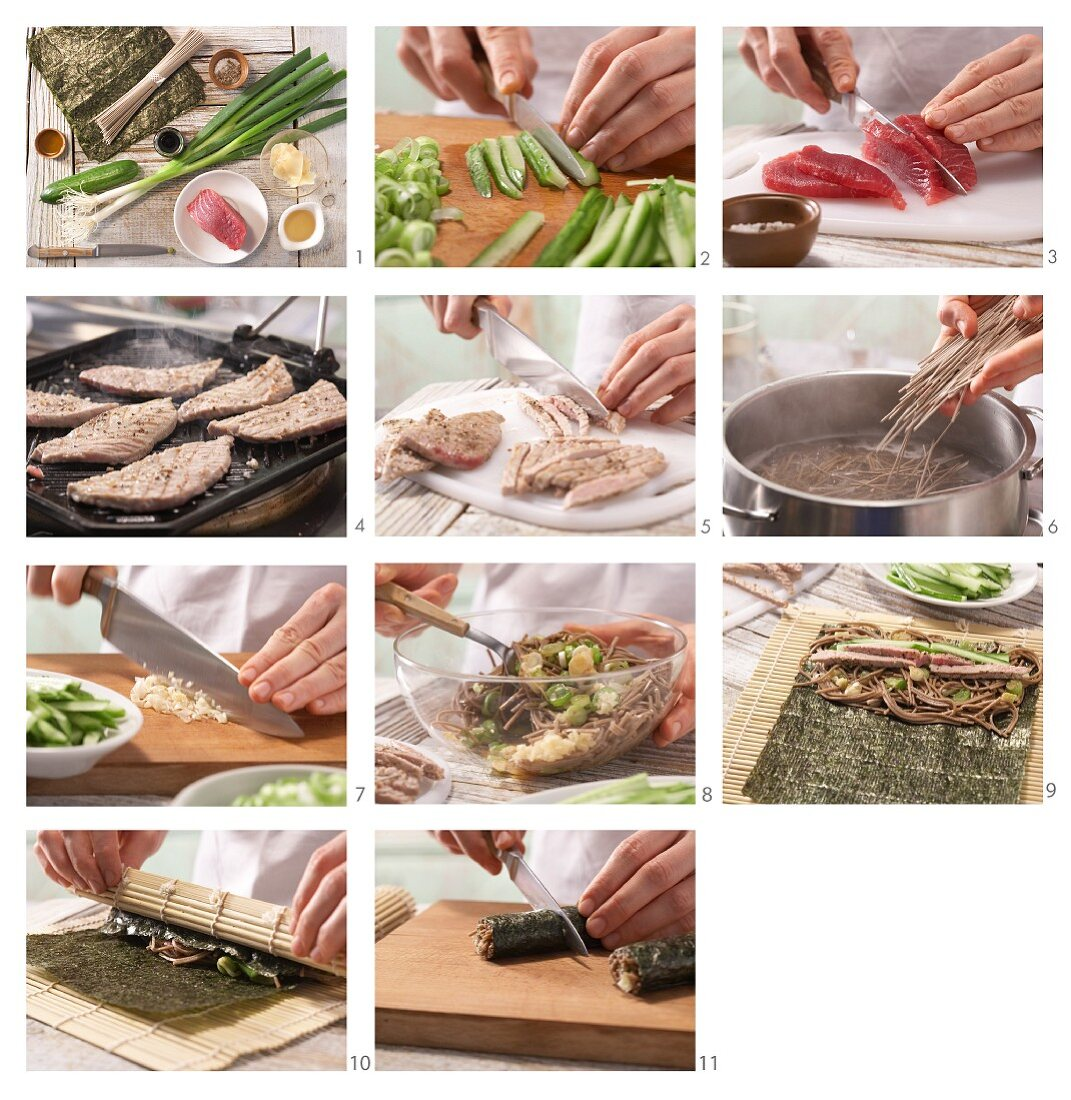 Tuna maki rolls with soba noodles being made