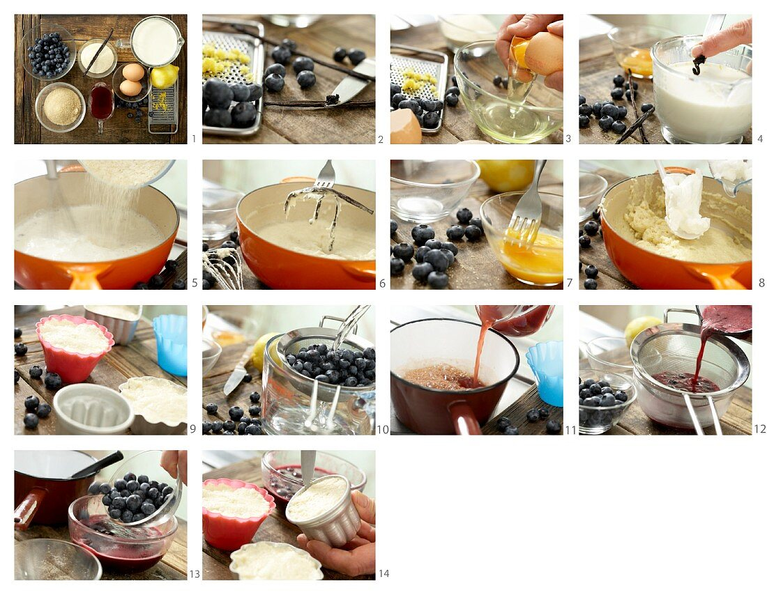 Semolina pudding with blueberry compote being made