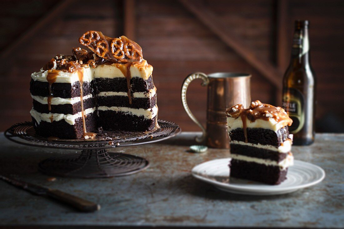 A chocolate stout cake with pretzels