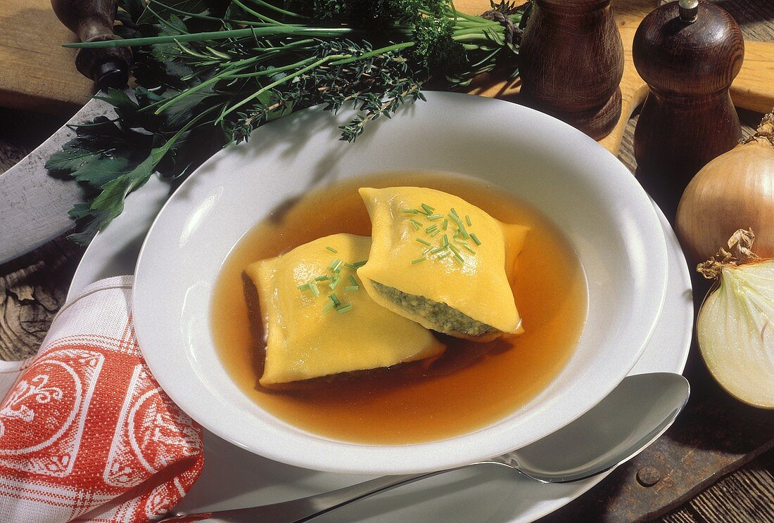 Clear Soup with filled Pasta Squares