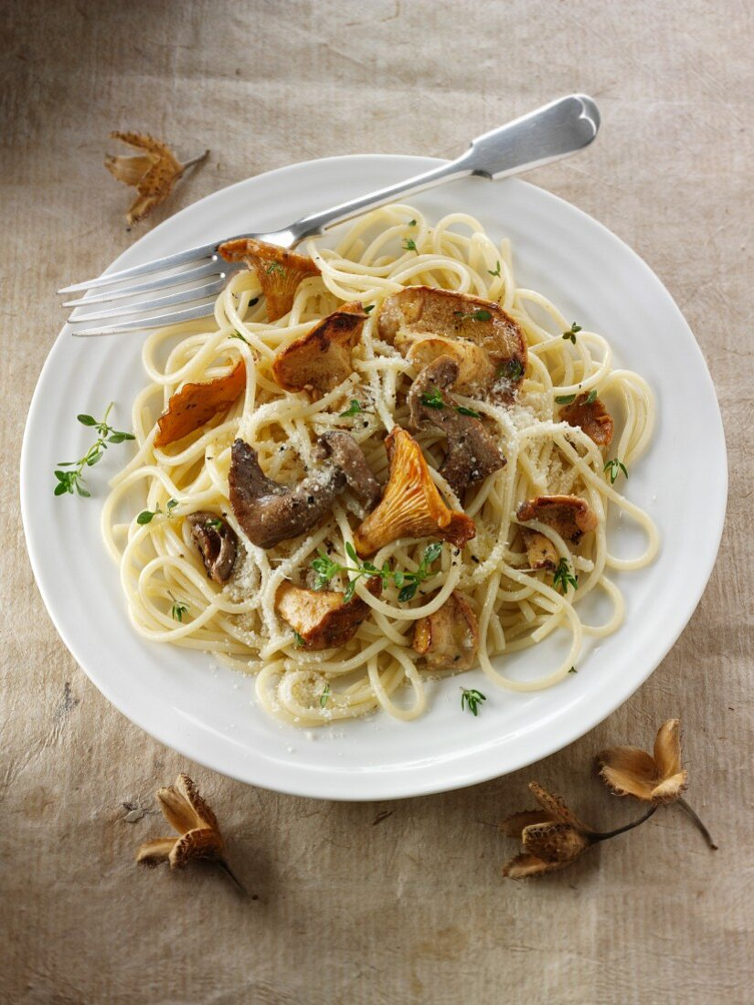 Spaghetti with wild mushrooms and Parmesan