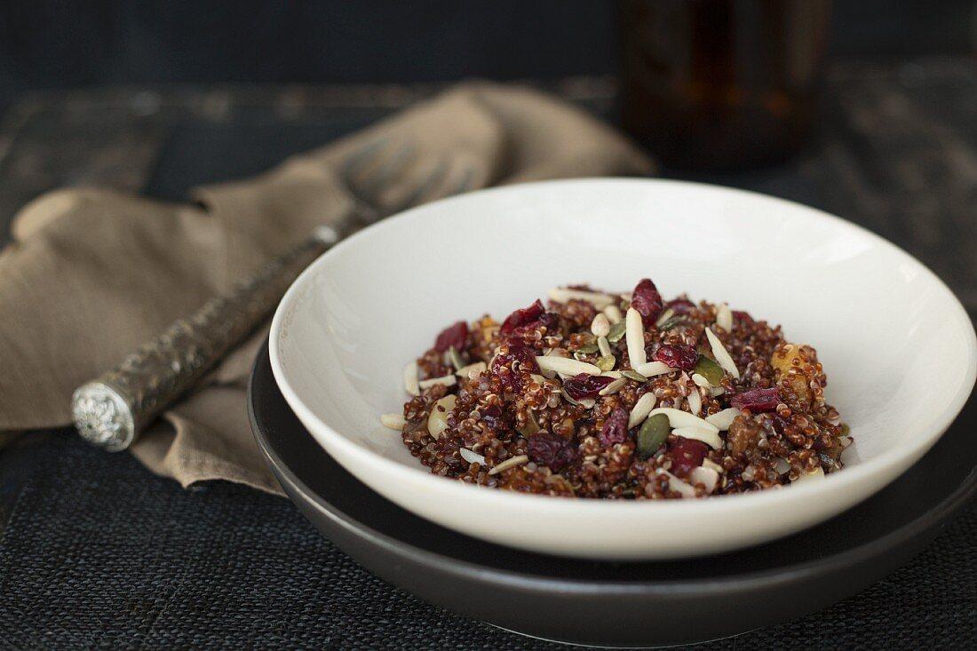 Red quinoa salad with pumpkin seeds