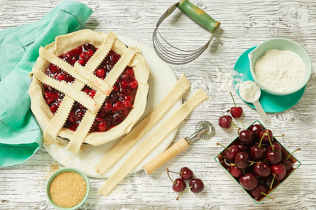 Cherry pie with a lattice top (unbaked)