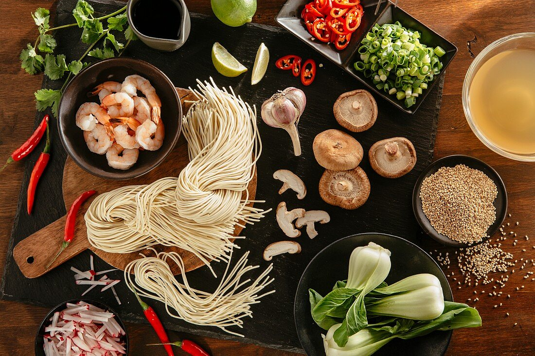 Ingredients for Asia noodle soup (seen from above)