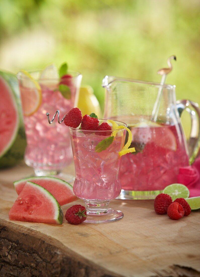 Watermelon lemonade on a terrace