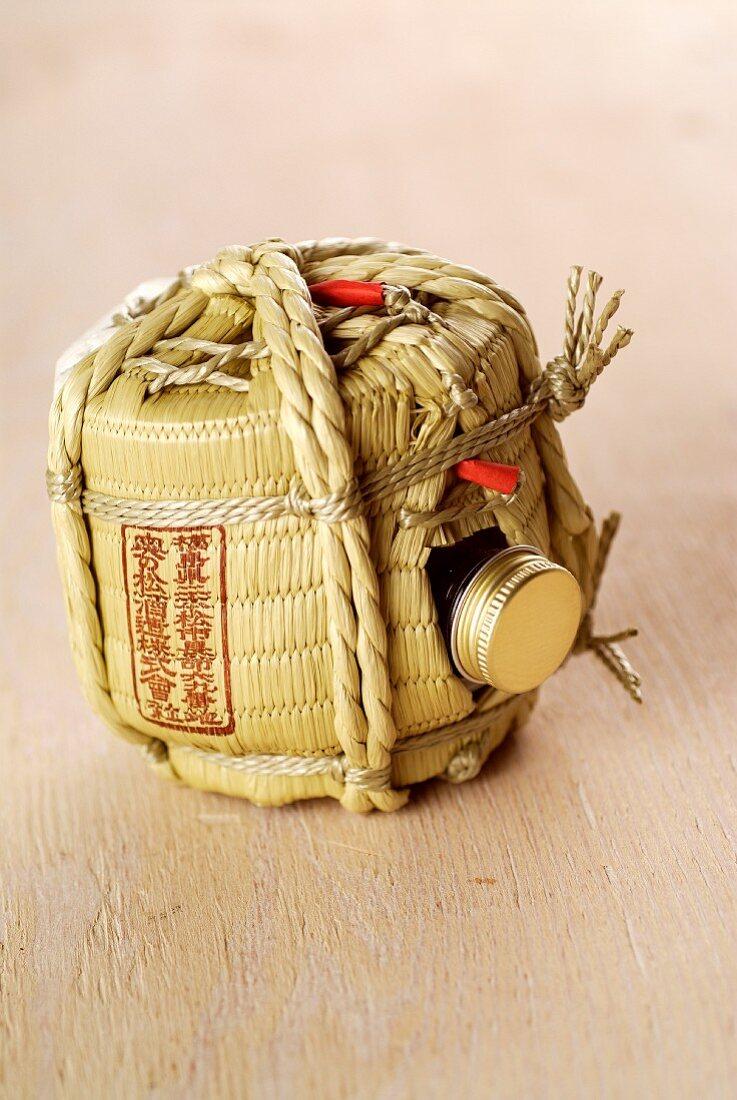 A bottle of Japanese sake