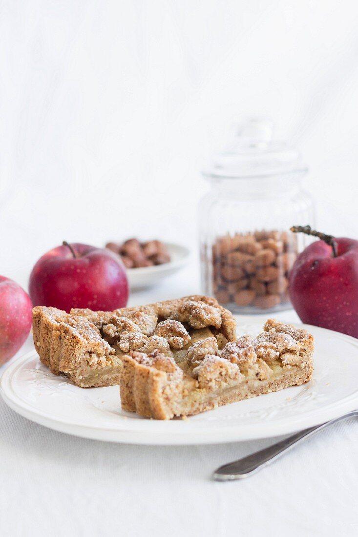 Autumnal apple and hazelnut cake