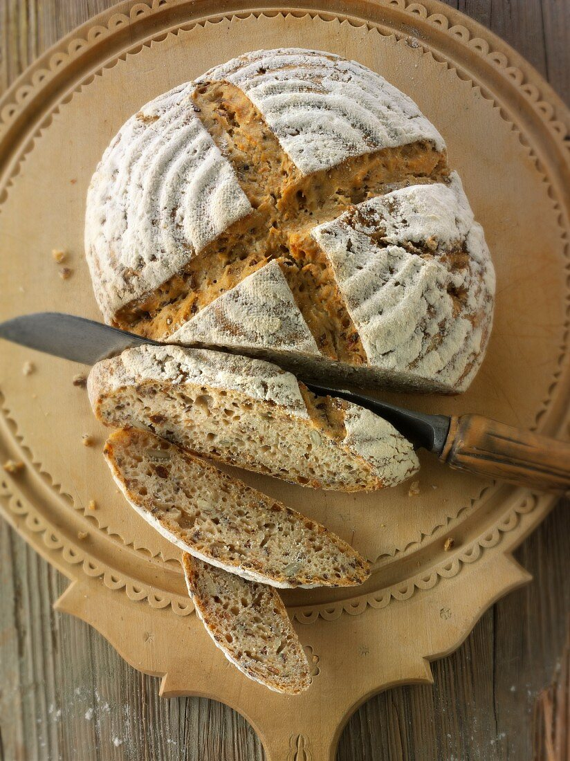 Handmade sour dough wholemeal bread made with rye flour, sliced