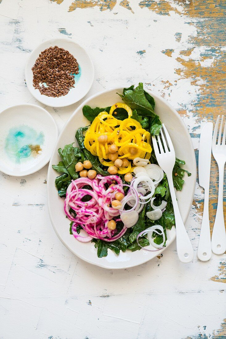 Kale salad with red and yellow beetroot