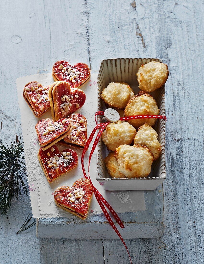 Christmas biscuits: almond hearts and coconut macaroons
