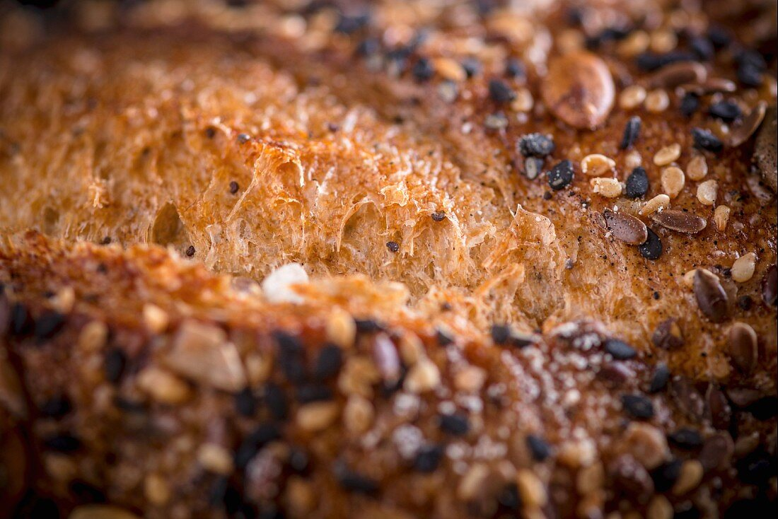 A close-up of a bread crust