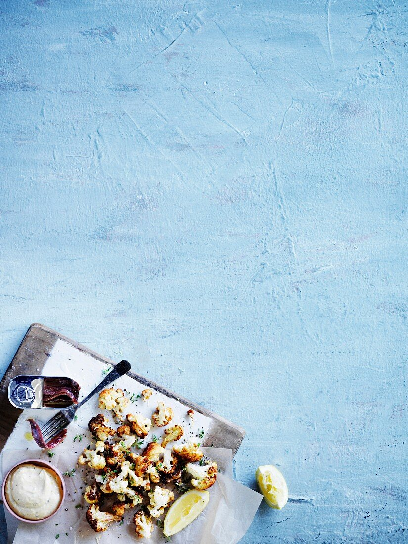Fried cauliflower with anchovy mayonnaise