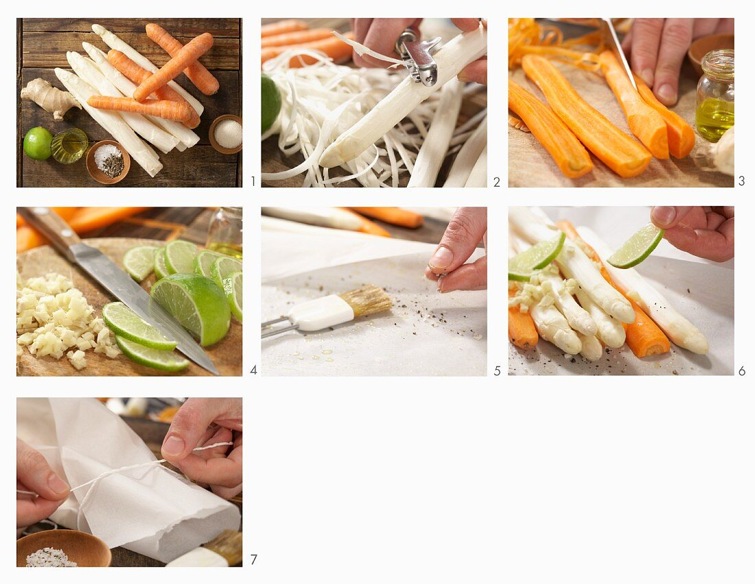 White asparagus in a paper parcel being made