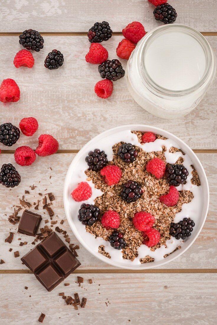 Granola and chocolate muesli with milk, raspberries and blackberries