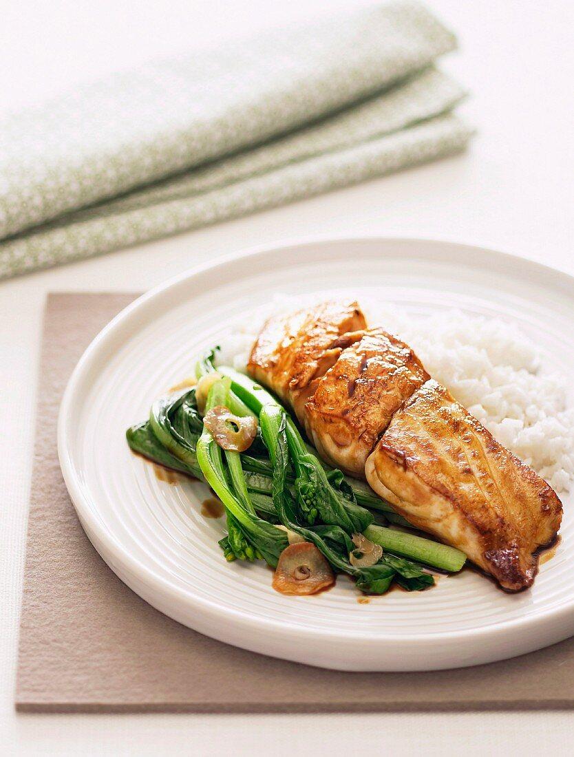 Glazed Fish with Choy Sum