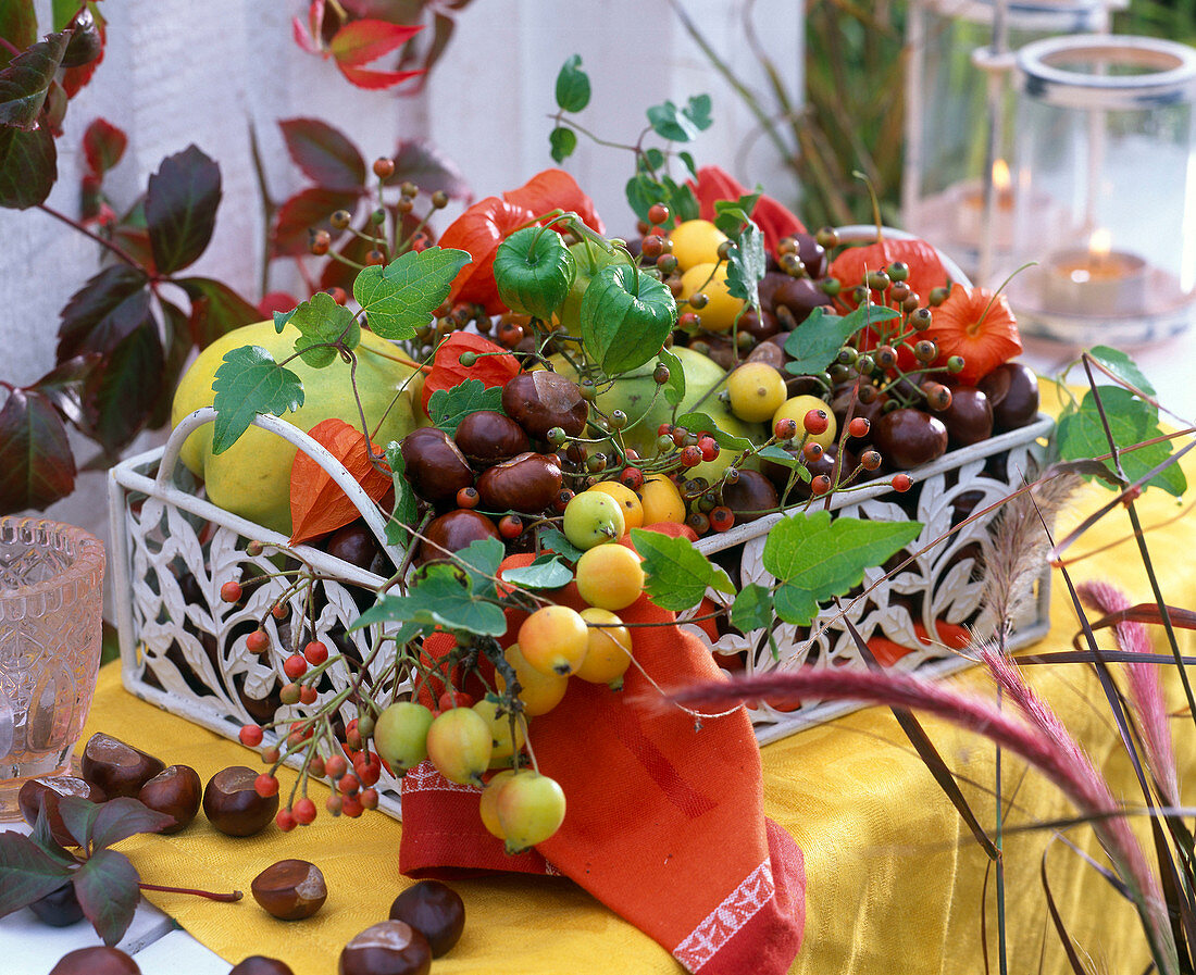 Decoration with fruits and chestnuts