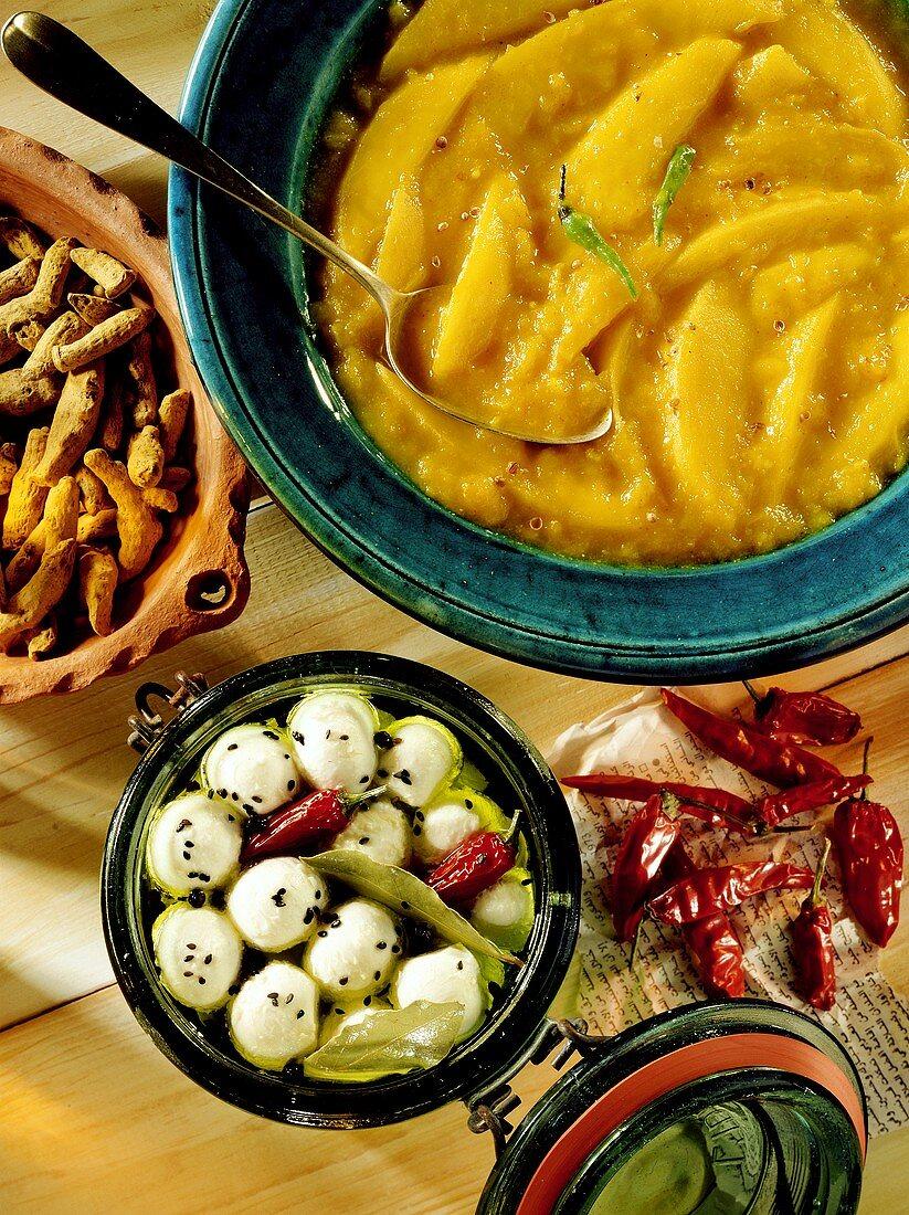 Pickled Yogurt Dumplings and Mango Chutney
