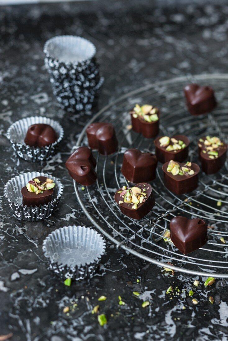 Vegan heart-shaped chocolate pralines