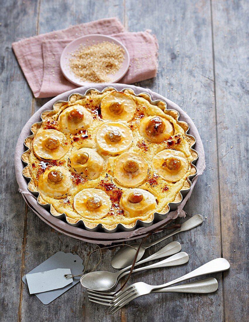 Crème brûlée cake with baked apples