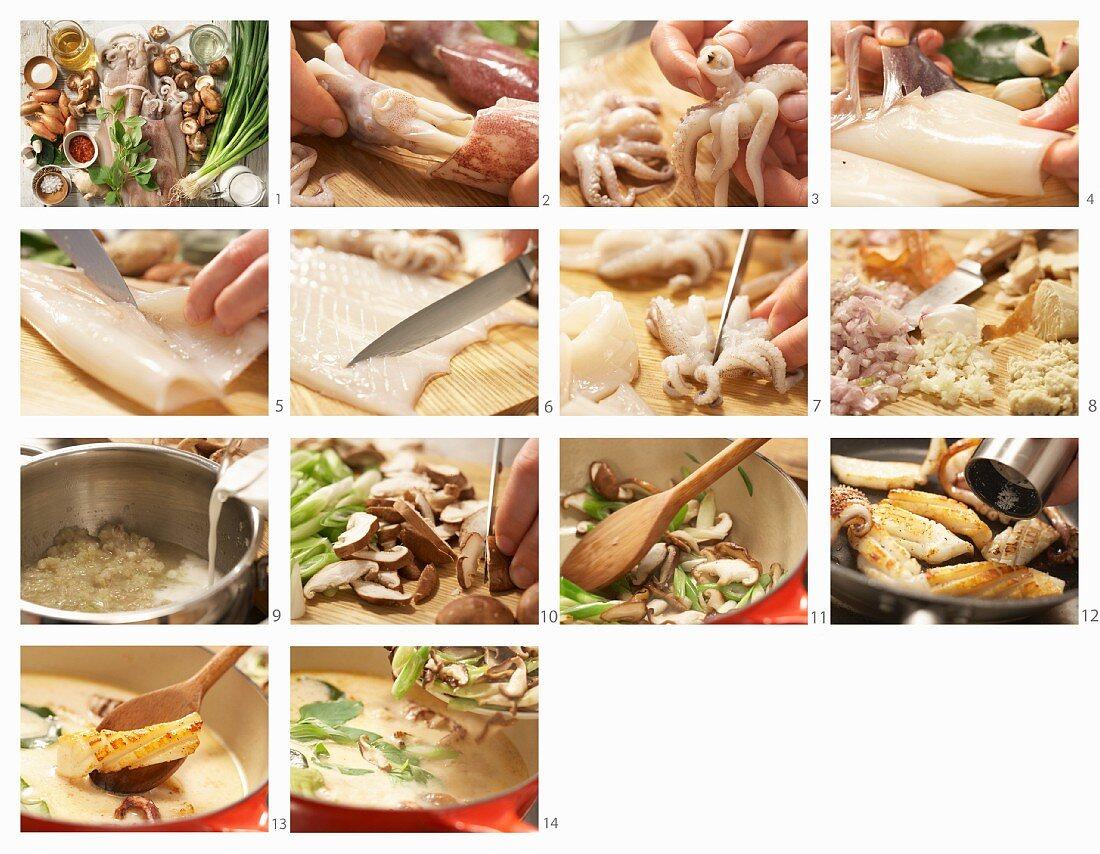 How to prepare Thai calamari with coconut milk and shiitake mushrooms