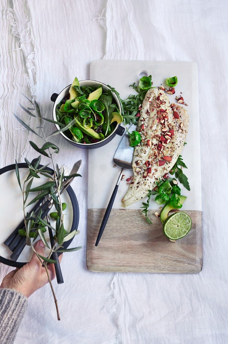 Sour cod with Brussels sprout salad and quinoa