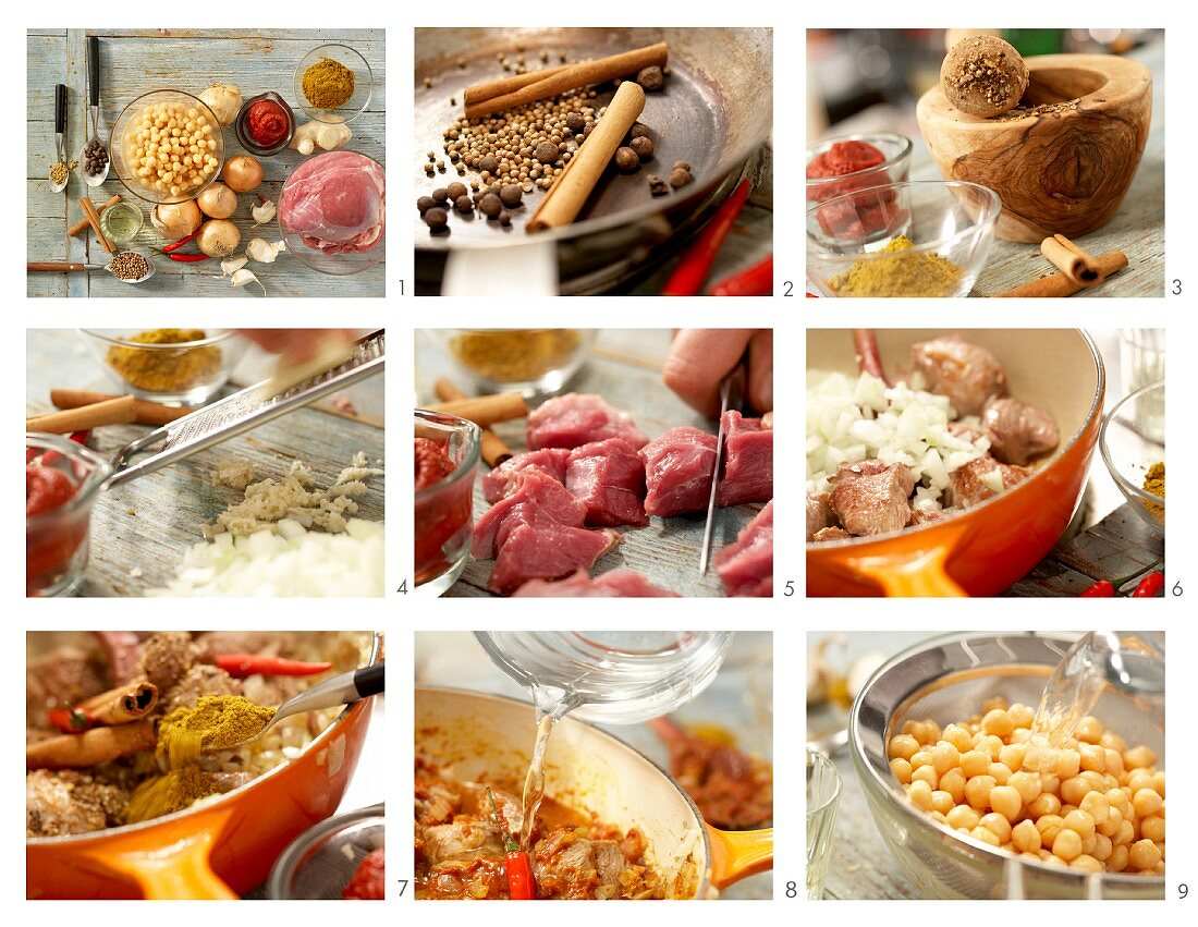 How to prepare a lamb curry with chickpeas and cinnamon