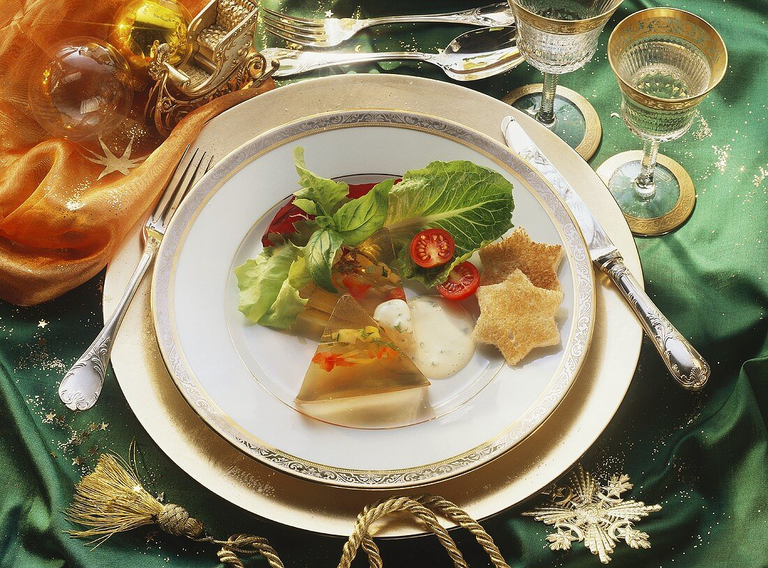 Jellied Vegetables with Toast Stars and Salad
