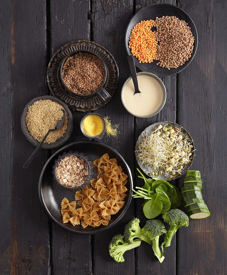 Various ingredients for quick and easy whole food cuisine (seen from above)
