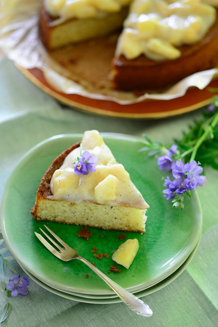 A slice of apple and egg liqueur cake