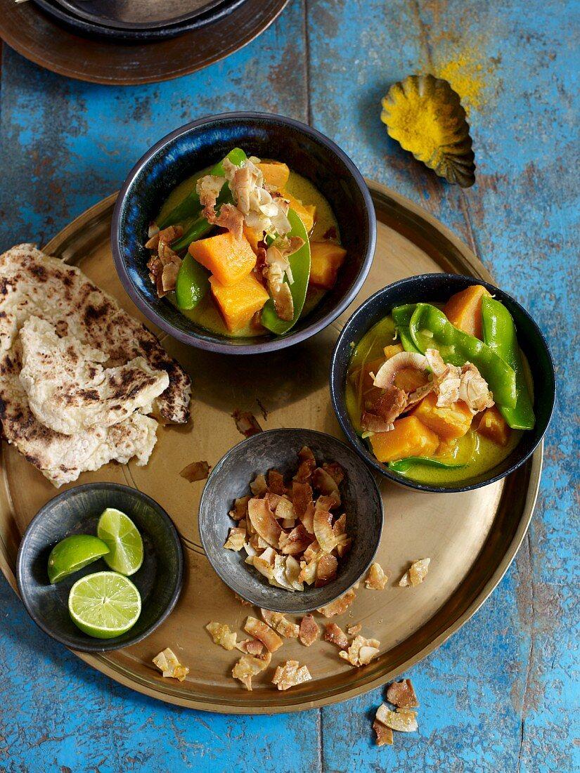 Vegetarian sweet potato curry with sugar snap peas (Asia)
