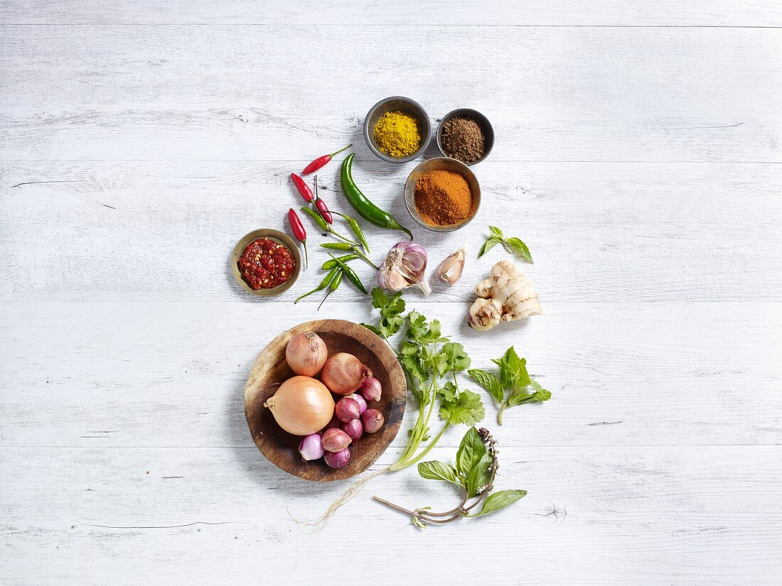 Ingredients for curries (seen from above)