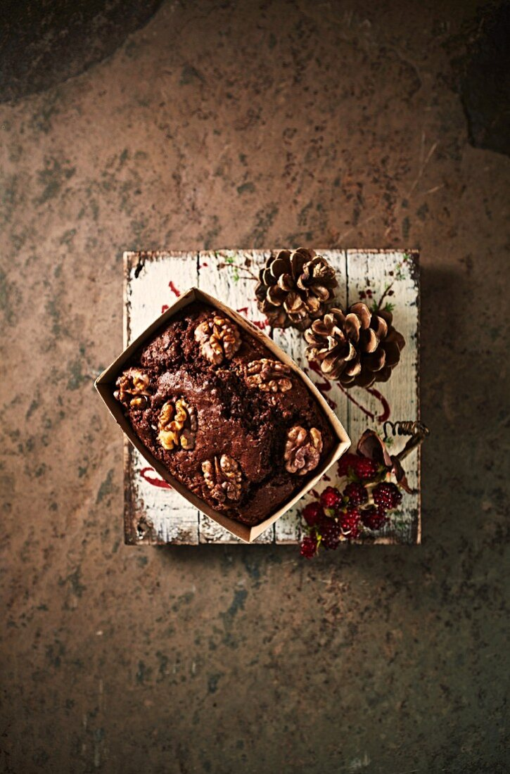 Chocolate cake with walnuts for Christmas