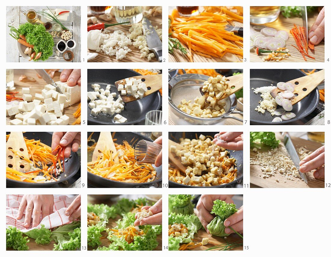 How to prepare a tofu salad with carrots and cashews