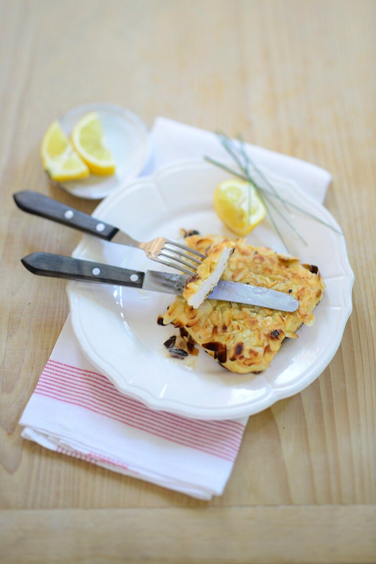 Schnitzel with an almond topping